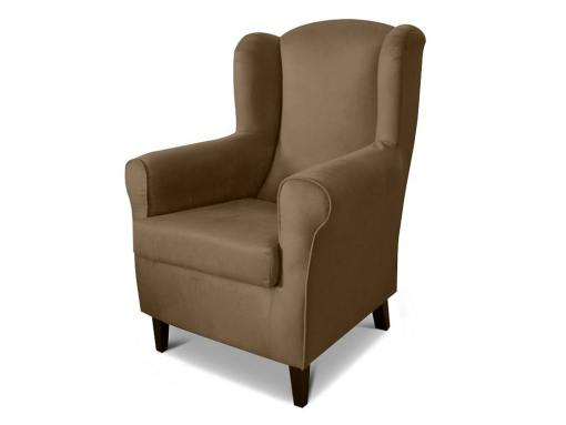 Armchair upholstered in stain resistant fabric - Amiens. Brown fabric