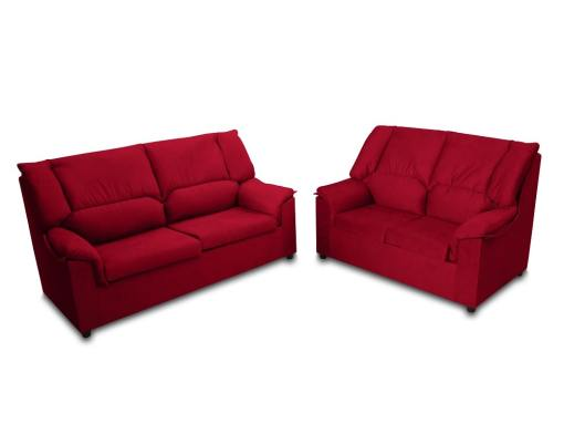 Inexpensive set of 3 seater sofa and 2 seater sofa - Nimes. Dark red stain resistant fabric