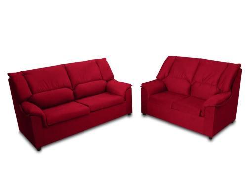 """Недорогой комплект: 3-местный и 2-местный диваны - Nimes. Тёмно-красная пятноустойчивая ткань (""""гранат"""")"""