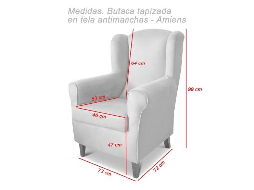 Dimensions of the Amiens upholstered armchair
