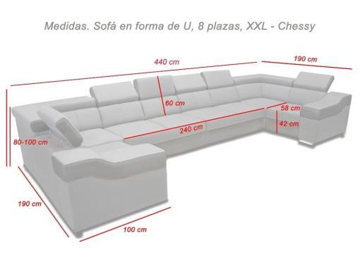 Medidas. Sofá en forma de U, 8 plazas, XXL modelo Chessy