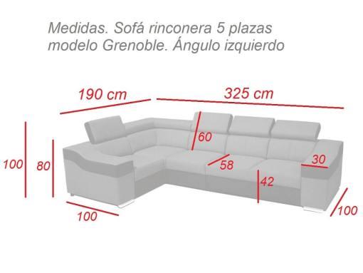 Medidas. Sofá rinconera 5 modelo Grenoble. Ángulo izquierdo