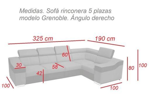 Medidas. Sofá rinconera 5 plazas modelo Grenoble. Ángulo derecho