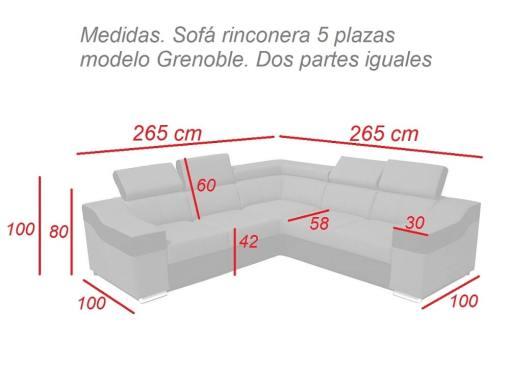 Medidas. Sofá rinconera 5 plazas modelo Grenoble. Dos partes iguales