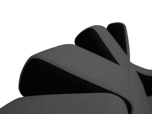 Reposacabezas reclinables (7 posiciones). Sofá rinconera 5 plazas - Grenoble. Tela gris, polipiel negra