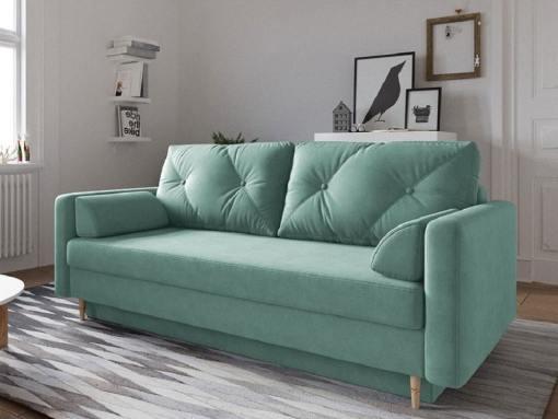 Sofá cama escandinavo 3 plazas. Tela microfibra color verde - Halmstad