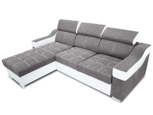 Chaise longue sofa bed with high headrests - Albi. Light grey fabric, white faux leather. Chaise longue mounted on the left