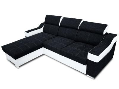 Chaise longue sofa bed with high headrests - Albi. Black fabric, white faux leather. Chaise longue mounted on the left