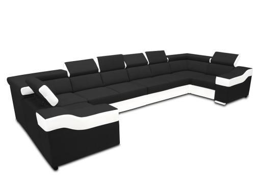Sofá en forma de U, 8 plazas, XXL - Chessy. Tela negra, piel sintética blanca