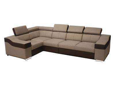 5 seater corner sofa with high backrests and headrests - Grenoble. Beige fabric, brown faux leather. Corner on the left