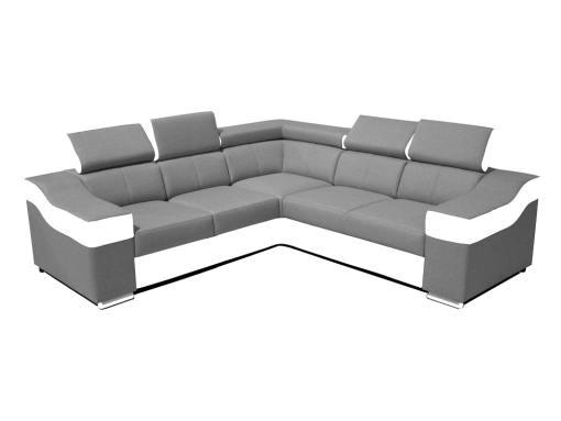 Sofá rinconera 5 plazas, altos reposacebezas y respaldos - Grenoble. Lados iguales 265 x 265 cm, tela gris claro, polipiel blanca