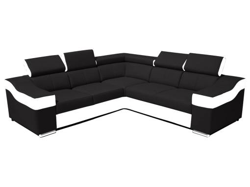 Sofá rinconera 5 plazas, altos reposacebezas y respaldos - Grenoble. Lados iguales, 265 x 265 cm, tela negra, polipiel blanca