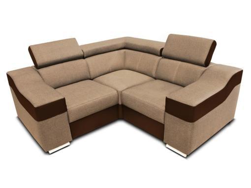 Sofá rinconera mini 190 x 190 cm, reposacabezas reclinables y brazos anchos - Grenoble. Tela beige, polipiel marrón