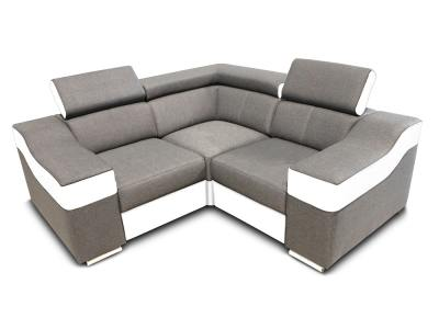 Small corner sofa 190 x 190 cm, reclining headrests and wide armrests - Grenoble Mini. Light grey fabric, white faux leather