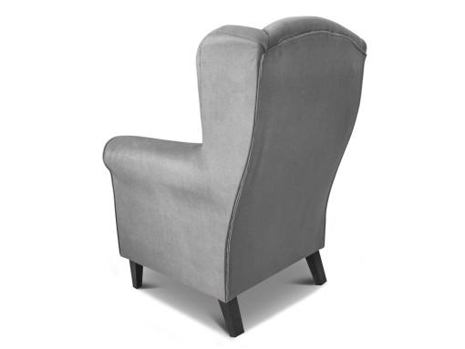 Back view of the Amiens armchair. Grey fabric