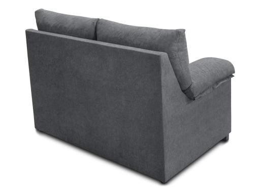 Vista detrás. Sofá 2 plazas económico en tela sintética gris - Salamanca