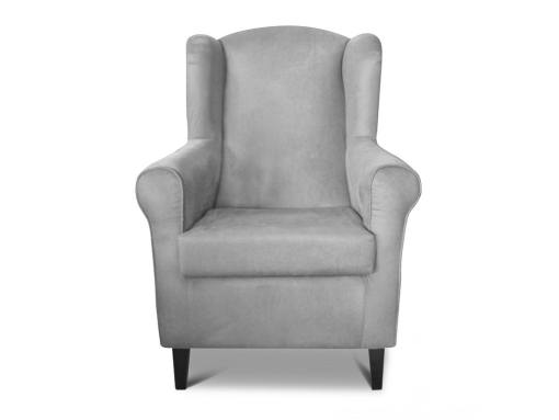 Front view of the Amiens armchair. Grey fabric