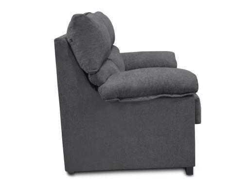 Vista lateral. Sofá 2 plazas económico en tela sintética gris - Salamanca