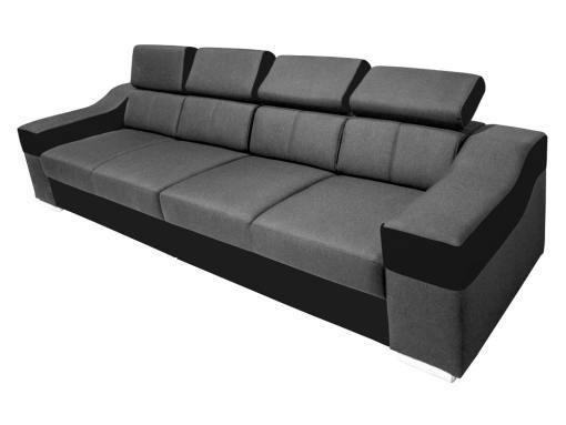 Sofá 4 plazas con reposacabezas reclinables y brazos anchos - Grenoble. Tela gris, piel sintética negra