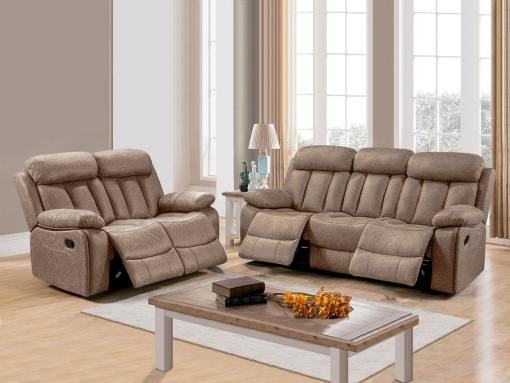 Set of Recliner Sofas Uholstered in Beige Fabric - 3 Seater & 2 Seater (3+2) - Barcelona. Fabric Luna