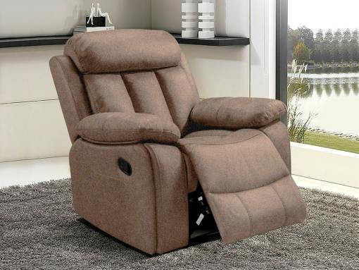 Recliner Armchair Upholstered in Beige Fabric - Barcelona. Fabric Luna