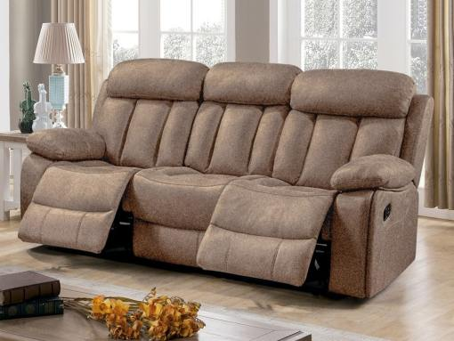 Three Seater Recliner Sofa Upholstered in Beige Fabric – Barcelona. Fabric Luna