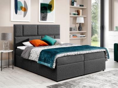 Modern style king size bed 160 x 200 cm - Emilia. Grey fabric