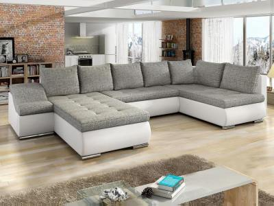 U-shaped sofa with pull-out bed, storage, wide armrest - Luton. Corner on the right, grey fabric, white faux leather
