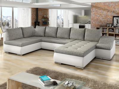 Sofá en forma de U con cama extraíble, arcón, ancho reposabrazos - Luton. Esquina lado izquierdo, tela gris, polipiel blanca