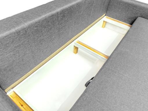 Ящик для хранения белья под сиденьем дивана Bruges. Серая ткань