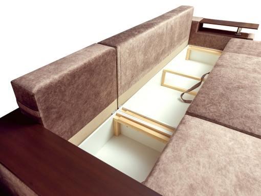 Arcones bajo chaise longue y asiento. Sofá chaise longue modelo Ostend. Chaise longue izquierda. Tela marrón