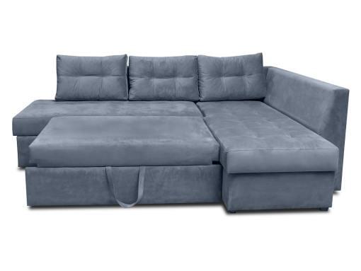 Modo cama. Sofá rinconera con cajón en el brazo y cojines - Mechelen. Tela gris. Esquina lado derecho