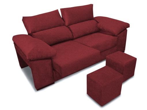 Sofá 3 plazas con asientos deslizantes, respaldos reclinables, 2 pufs - Toledo. Tela color rogo