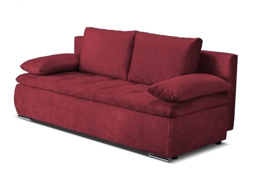 Sofá cama con cojines laterales (brazos) - Lorca. Tela color rojo