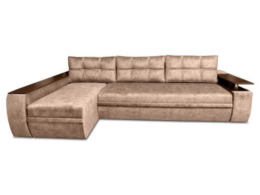 Sofá chaise longue cama grande con cajones de almacenamiento - Ostend. Chaise longue izquierda. Tela marrón