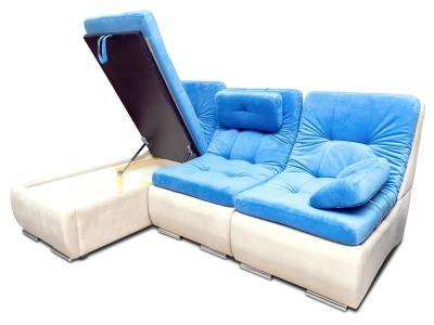 Sofáchaise longue con asientos convertibles en cama - Brussels. Chaise longue montada a la izquierda. Arcón abierto. Telas azul, beige