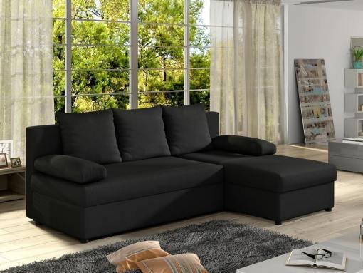 Sofá chaise longue pequeño con cama - York. Color negro (tela sawana 14). Chaise longue lado derecho