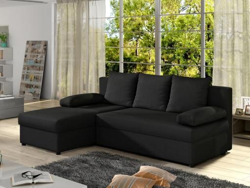 Sofá chaise longue pequeño con cama - York. Color negro (tela sawana 14). Chaise longue lado izquierdo