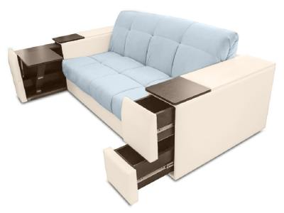 Sofa bed with folding table, storage in armrest - Bern. Grey and beige fabrics