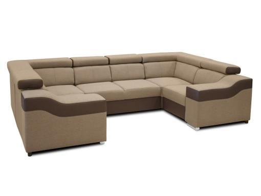 Modo reposacabezas bajados. Sofá en forma de U, 6 plazas - Grenoble. Tela beige, polipiel marrón