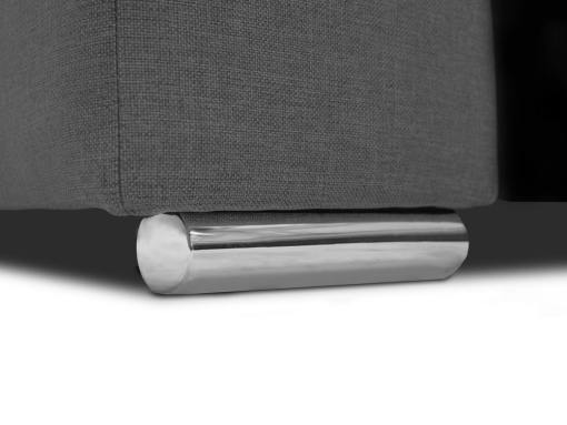 Pata cromada. Sofá en forma de U, 6 plazas - Grenoble. Tela gris, polipiel negra