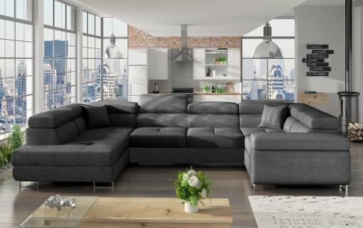 Sofá en U moderno (2 chaiselongs) con cama y arcón - Coventry. Esquina lado derecho. Todo tela gris oscuro (Inari 96)