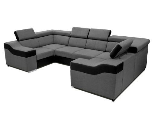 Sofá en forma de U, 6 plazas - Grenoble. Tela gris, polipiel negra