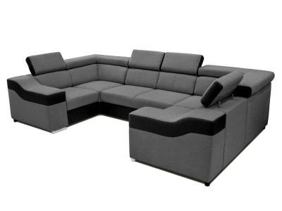 """6-местный диван в форме буквы """"П"""" - Grenoble. Серая ткань, чёрная искусственная кожа"""