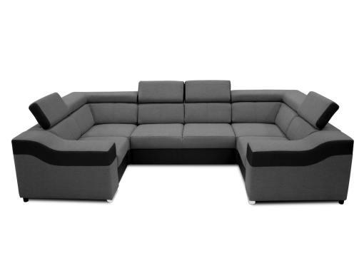 Vista frontal. Sofá en forma de U, 6 plazas - Grenoble. Tela gris, polipiel negra