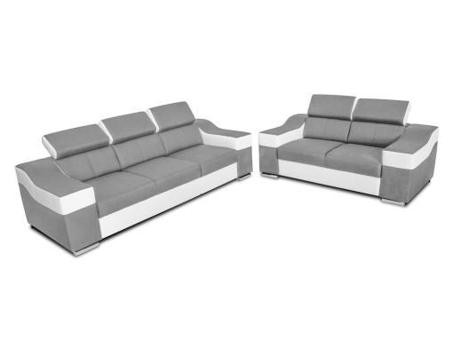 Conjunto tres más dos - sofá 3 plazas, 2 plazas, reposacabezas reclinables - Grenoble. Tela gris claro, polipiel blanca