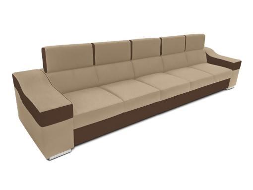 Sofá 5 plazas sin chaise longue, reposacabezas reclinables - Grenoble. Beige, marrón