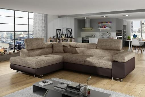Sofá rinconera cama con arcón y reposacabezas reclinables - Manchester. Esquina lado izquierdo. Colores beige (tela Berlin 03) y piel sintética marrón (soft 66)