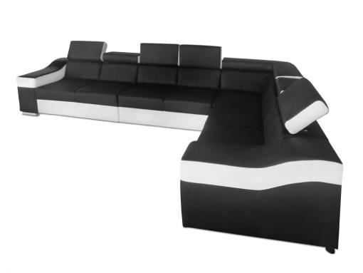 Vista lateral. Sofá rinconera con altos reposacebezas y respaldos, 7 plazas - Grenoble. Negro blanco. Polipiel