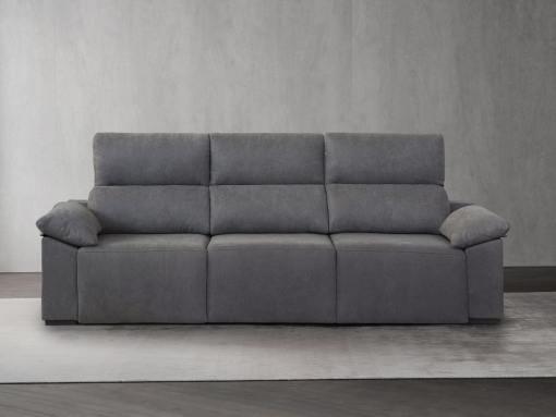 Sofá 3 plazas con asientos deslizantes - Mazarron. Color gris